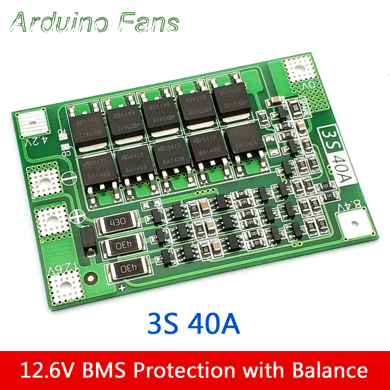 3S 12 6V 40A Li-ion Lithium 18650 Battery Cell BMS Protection Charger Board